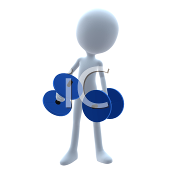 Royalty Free Clipart Image of a 3D Guy With Weights