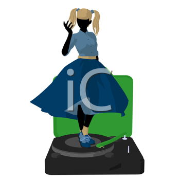 Royalty Free Clipart Image of a 50s Girl on a Record Player