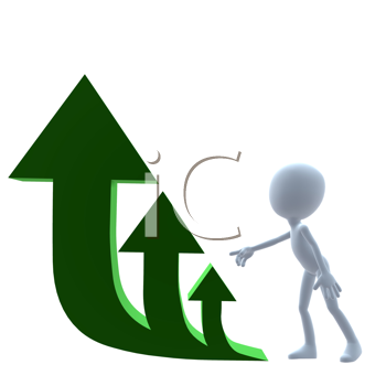 Royalty Free Clipart Image of a 3D Man Next to Three Arrows