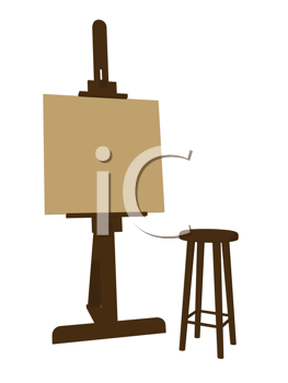 Blank canvas on an artist easel with a stool on a white background