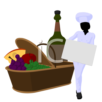 Royalty Free Clipart Image of a Female Chef With a Picnic Basket, Wine and a Sign