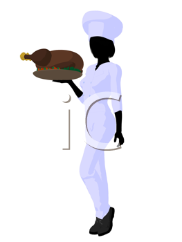 Royalty Free Clipart Image of a Female Chef With a Roast Turkey