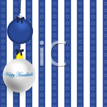 Royalty Free Clipart Image of a Background With Happy Hanjukkah Ornaments