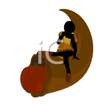 Royalty Free Clipart Image of a Native Girl With a Horn of Plenty