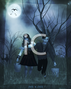 Royalty Free Clipart Image of a Gothic Boy and Girl Running in the Woods With Buckets