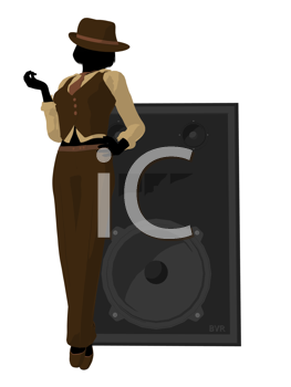 Royalty Free Clipart Image of a Woman With a Large Speaker