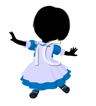 Royalty Free Clipart Image of a Little Girl in a Pinafore
