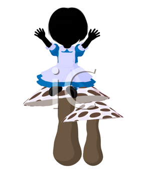 Little alice in wonderland illustration silhouette on a white background