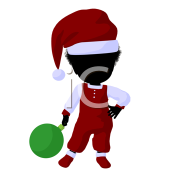 Royalty Free Clipart Image of a Little Girl in a Santa Costume With an Ornament