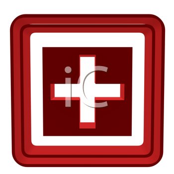 3D cross inside a red box on a white background
