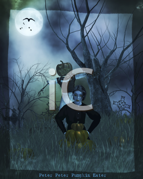 Royalty Free Clipart Image of a Gothic Scene With a Boy and Pumpkins