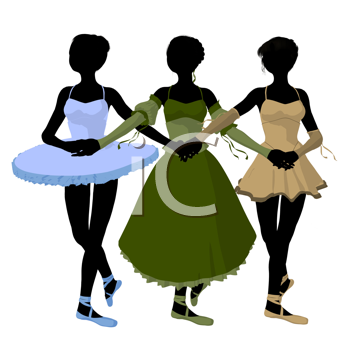 Three ballerinas holding hands on a white background