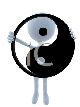 Royalty Free Clipart Image of a 3D Guy Holding a Yin Yang Symbol