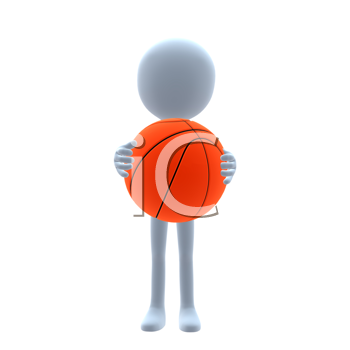 Royalty Free Clipart Image of a Man Holding a Basketball