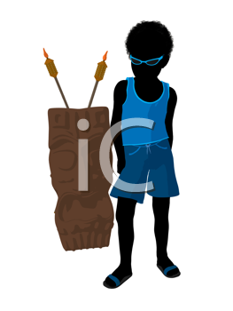 Royalty Free Clipart Image of a Boy With a Tiki