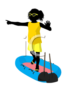 Royalty Free Clipart Image of a Girl on a Surfboard