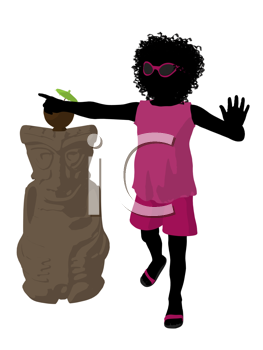 Royalty Free Clipart Image of a Girl With a Tiki