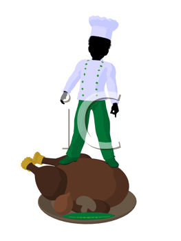Royalty Free Clipart Image of a Boy Chef With a Roasted Turkey