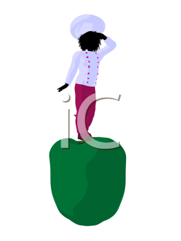 Royalty Free Clipart Image of a Chef Girl on a Bell Pepper
