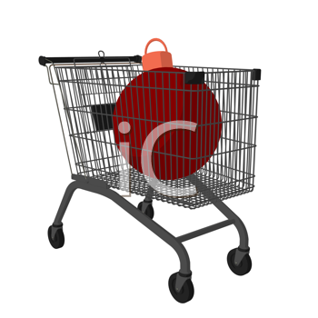 Royalty Free Clipart Image of a Shopping Cart With a Christmas Ornament