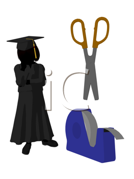 Royalty Free Clipart Image of a Graduate With Scissors and Tape