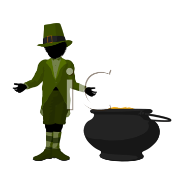 Royalty Free Clipart Image of a Leprechaun and Pot of Gold