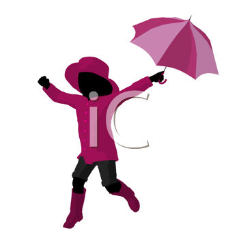 Royalty Free Clipart Image of a Girl With an Umbrella