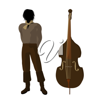 Royalty Free Clipart Image of a Man and Violin
