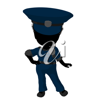 Royalty Free Clipart Image of a Little Girl in a Police Officer's Costume