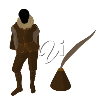 Royalty Free Clipart Image of an Elizabethan Man With a Quill Pen