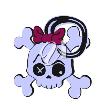 Skull and crossbones with a bow illustration on a white background