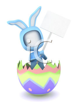 3D Illustration of a Man in an Easter Bunny Suit