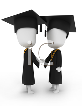 3D Illustration of Graduates Shaking Hands