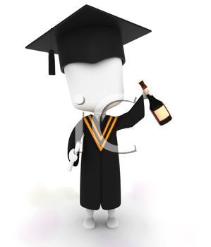 3D Illustration of a Graduate Holding a Bottle of Wine