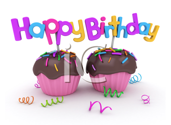 3D Illustration of Twin Cupcakes with Birthday Greetings Attached