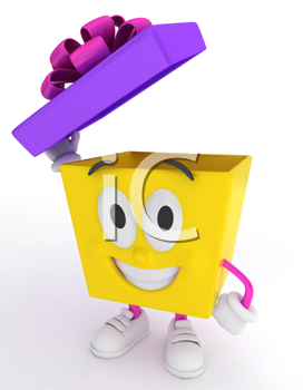 3D Illustration of a Gift Character Lifting His Cover