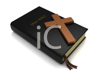 3D Illustration of a Bible and a Cross