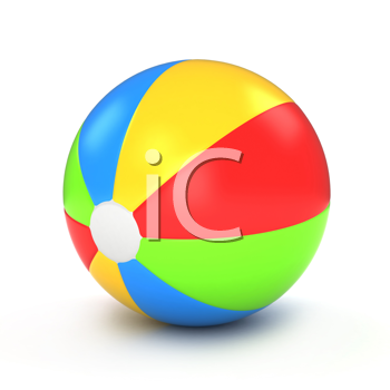 3D Illustration of a Colorful Beach Ball