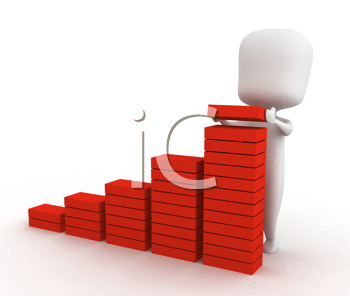 3D Illustration of a Man Adding a Brick to a Bar Graph