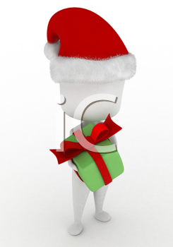 3D Illustration of a Man Giving a Christmas Gift