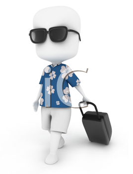3D Illustration of a Man Traveling in Summer Outfit