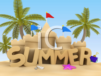 3D Illustration of Summer Text made of Sand