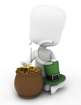3D Illustration of a Man Sitting Beside a Pot of Gold