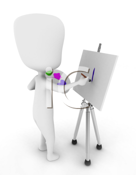 3D Illustration of a Painter Painting on His Canvas