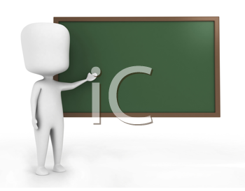 3D Illustration of a Man Explaining What's Written on the Blackboard
