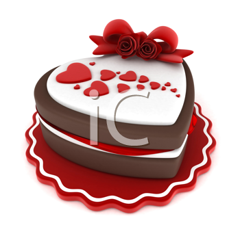 Illustration of a Heart-shaped Cake Adorned with a Ribbon and Heart-shaped Frosting