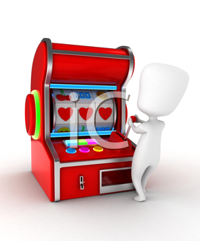 Illustration of a Man Getting a Combination of Hearts in a Slot Machine