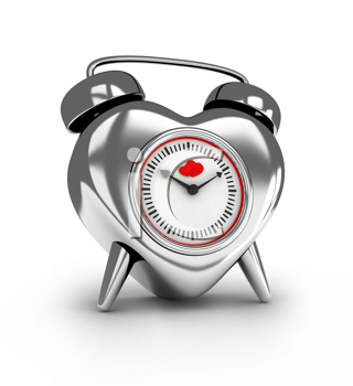 3D Illustration of a Heart-shaped Metallic Alarm Clock