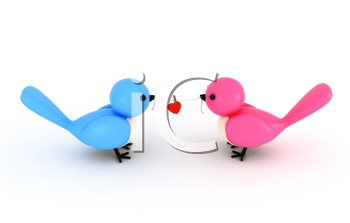 3D Illustration of a Pair of Birds Holding a Piece of String with a Heart Clipped in the Middle