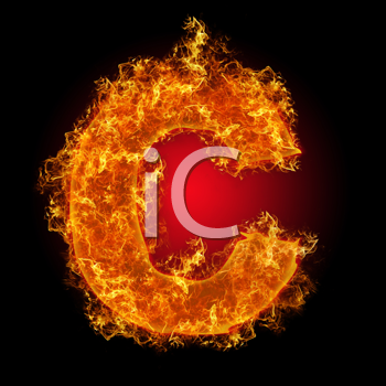 Fire small letter c on a black background